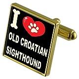 Select Gifts Ich liebe meinen Hund Gold-Tone Manschettenknöpfe - alte kroatische Windhund