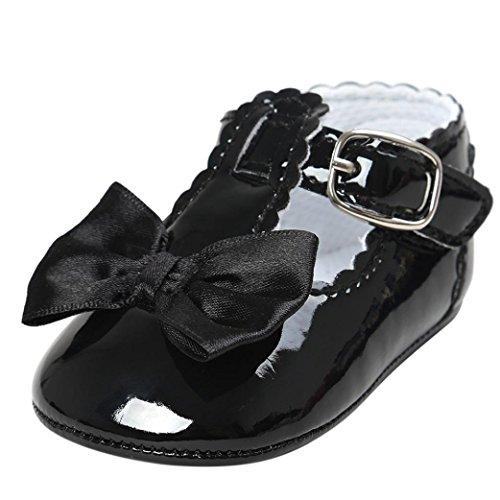 FNKDOR Baby Mädchen Bowknot Prinzessin Weiche Sohle Schuhe Kleinkind Turnschuhe Freizeitschuhe(12-18 Monate,Schwarz) (Baby Sohle Leder Krippe Schuhe)