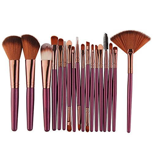 VJGOAL Damen 18-TLG Make-up Pinsel Set Multifunktional Werkzeuge Make-up Kulturbeutel Wolle Make Up Pinsel Set (Lila) -