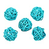 vLoveLife 10pcs 1.2'' Light Blue Round Rattan Balls Vase Filler Rattan Twig Ball Christmas Tree Ornament Wedding Birthday Party Decoration Decorative Crafts, Bowl, Rabbits, Parrot, Bird Toys
