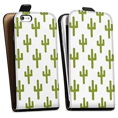 Apple iPhone X Silikon Hülle Case Schutzhülle Kaktus Muster Grün Downflip Tasche schwarz