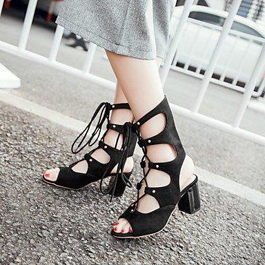 LvYuan Damen-Sandalen-Party & Festivität Kleid-Kunstleder-Blockabsatz-Andere Club-Schuhe-Schwarz Rot Black