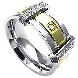 KONOV Schmuck Herren-Ring, Zirkonia Diamant Edelstahl, Klassiker Eheringe Verlobungsringe, Gold Silber - Gr. 54