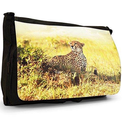 Wild Cat ghepardo grande borsa a tracolla Messenger Tela Nera, scuola/Borsa Per Laptop Cheetah On The Lookout