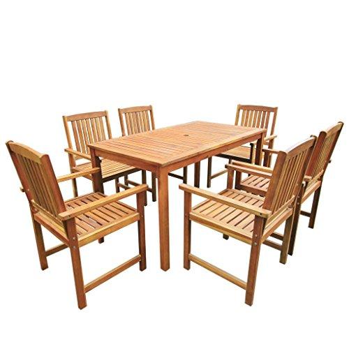 Festnight Salon de Jardin 1 Table et 6 Chaises d'extérieur en Acacia Massif Marron