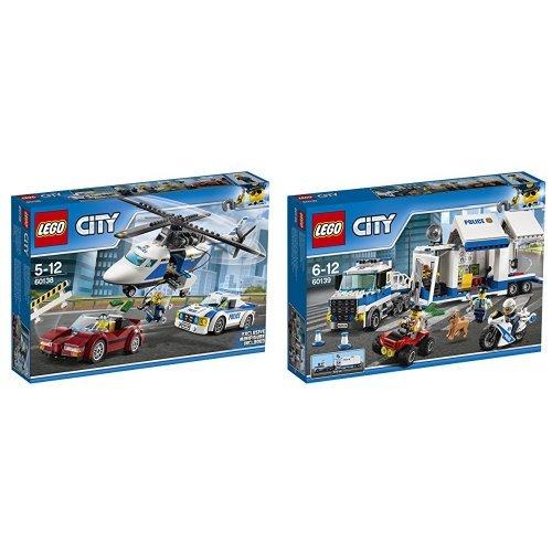 Pack LEGO - 60138 - City - La Course-Poursuite enHélicoptère et LEGO - 60139 - City - Le Poste de Commandement Mobile