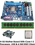 Intel Core I3 540 3.06 GHz Pocessor, Intel H55 Motheboard, Supprts Core i3 / Core i5 / Core i7 first Generation Processor, 4 GB DDR3 RAM, Supports upto 16GB DDR3 RAM, Each Combo Kit tested before Despatch - 100% working Kit, CPU Fan, Drivers CD &...