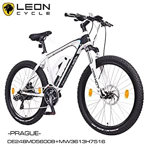 NCM Prague 26 Zoll Elektrofahrrad Mountainbike E-MTB E-Bike,Pedelec ALU 36V 250W Li-NCM Akku mit 13Ah,weiß,schwarz