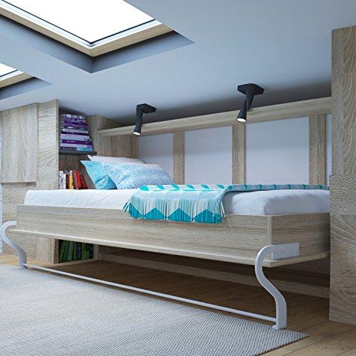 Schrankbett 90x200 cm Horizontal Eiche Sonoma- Schrankklappbett & Wandbett, ideal als Gästebett - Wandbett, Schrank mit integriertem Klappbett, Sideboard