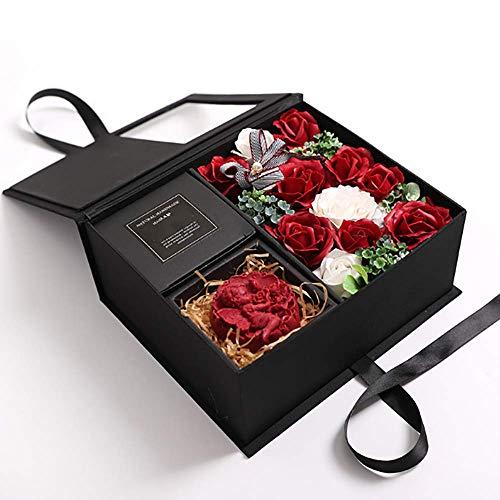 LJHLJH Contenitore di Regalo Romantico del Fiore del Sapone di San Valentino del Regalo di Natale, Sapone aromatico dell'amore del Cupido della Rosa, 21,5 * 25 * 10,5 cm,Rosso