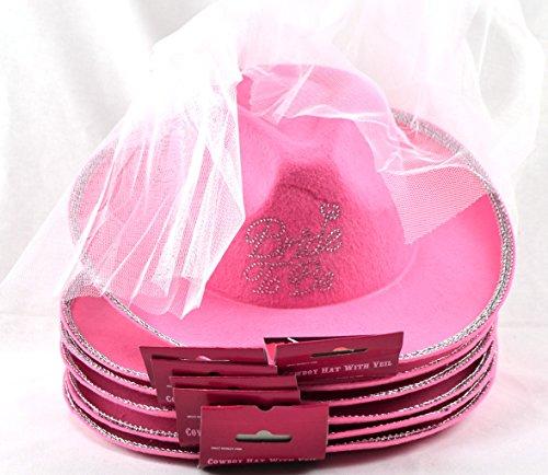 Perlen Cowgirl Hut (Bride to be Cowboyhüterosa im 6-er Set mit Schleier, Jungesellinen Abschied, Hochzeit)