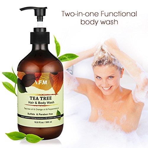 Gel Doccia al Tea Tree, Y.F.M. 2 in 1 Doccia Shampoo - Olio Essenziale Tea Tree e Vitamina E - Bagnodoccia Idratante Cura del Corpo 500ml