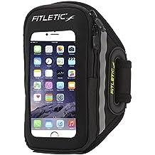 Fitletic Forte - fascia da braccio per telefono, taglia S-M, unisex, Forte, nero, S-M (< 29 cm)