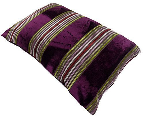 Penzance violett Heidekraut rot grün dicke Streifen Weich Samt Boudoir Kissenbezug 40 x 60cm #RAB