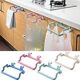 #9: Woogor 2 Pc Towel Rack Hanging Holder Cum Garbage & Grocery Bag Organizer Plastic Garbage Bag holder, Dustbin, Towel rack for Kitchen bathroom Office Schools Clinic For Kitchen Bathroom Cabinet Random Color