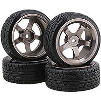 Neumáticos de plástico negro Drift + llanta de aleación de aluminio gris 5 radios para RC 1:10 On-Road Racing Car Pack de 4