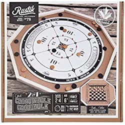 "Crokinole Deluxe, Double Sided with Checkers Game on Back of Board. 26.5"" X 26.5"" Wide. Made of Wood"