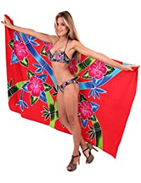 La Leela Smooth Rayon Butterfly Hand Paint Cover up Bikini Pareo 78X43 inch
