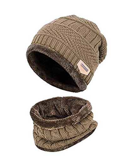 ZZLAY Kinder Winter Dicke Beanie Hut Schal Set Slouchy Warmen Schnee Knit Skull Cap -