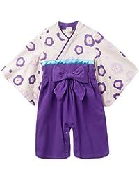 FEOYA - Mono Pelele Pijama Traje de una pieza para Bebés Niños Niñas de algodón Estilo Japonés Kimono Infantil 6 9 12 meses 1 2 años - Púrpura