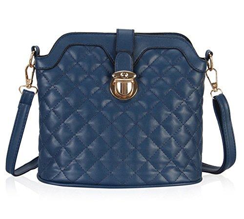 Minetom Color Sólido Sencillo Moda Fashion Mensajero Del Bolso Bandolera Casual Al Aire Libre Pu Cuero Mujer Azul One Size(24*12*22