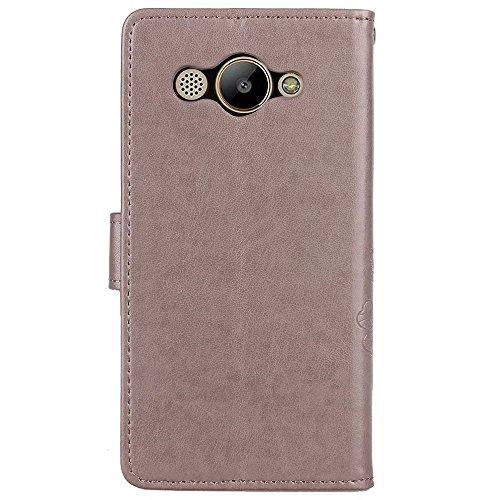 LEMORRY Huawei Y3 (2017) Custodia Pelle Cuoio Flip Portafoglio Borsa Sottile Bumper Protettivo Magnetico Morbido Silicone TPU Cover Custodia per Huawei Y3 (2017) / L02 / L03 / L22 / L23, Clover fortun Grigio