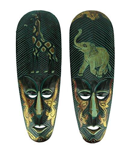 Things2Die4 - Juego de 2 máscaras Decorativas de Madera talladas a Mano con diseño de Elefante y Jirafa, Color Verde