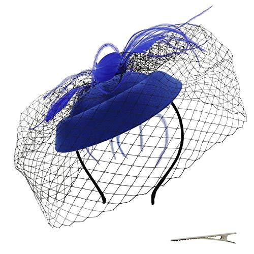 Umeepar Damen Pillbox Fascinator Hut Hochzeit Tea Party Hüte mit Federn Schleier Stirnband Clip (Königsblau)