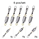 Tbest 5pcs Angeln Gewichte Kugel Blei Sinkers Rolling Swivel Fishing Weights Bullet Lead Sinkers...