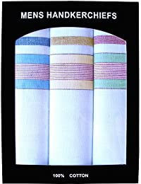 Men's White Cotton Handkerchief Gift Box Set with Colourful Stripes Design (Set of 3)