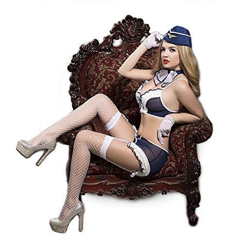 (Sailor sexy Marineuniform Babypuppe Minikleid Cosplay Uniformen Versuchung Unterwäsche 7-teiliges Set BH Rock Handschuhe Hut Krawatte T-back Netzwerk strike one size fits all)
