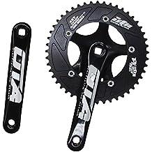 jnp 48T sola velocidad fija Gear Fixie pista bicicleta Platos y bielas manivela cadena bicicleta Chainwheel 48Gear de aluminio de componentes, negro