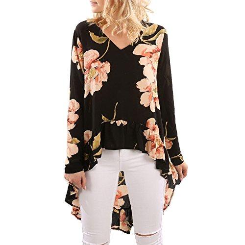Aelegant Damen Frühling Sommer Langarm Shirt Elegant V Ausschnitt Bluse mit  Blumendruck Casul Lose Kurz Kleid 151565ac5f