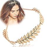 Diadema Aukmla para mujeres y niñas, con diseño de hoja doradas