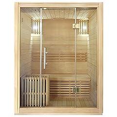 Idea Regalo - Sauna finlandese completa di Stufa da 3 kw e cabina in legno spessore 6 cm Medea Dimensioni 150x135x190 cm.