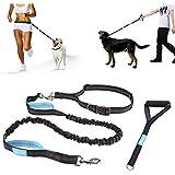 Pecute Hundeleine Bauchleine hund jogging leine Reflektierende Elastische Nylonband 1.5 m mit verstellbarem Hüftgurt und Handgirff (Schwarz + Blau)