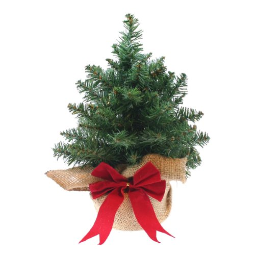 mini artificial christmas tree with woven bag 12in for desks tables shelves and hospitality - Mini Artificial Christmas Trees
