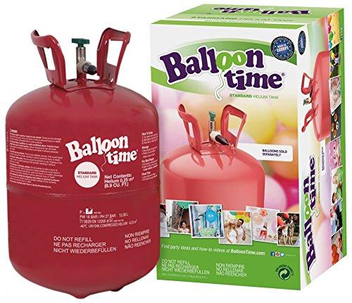 Preisvergleich Produktbild Helium für Luftballons als witziger Partyspaß - BalloonTime Heliumflasche mit 250 Liter Ballongas - Große Helium Einwegflasche als Partyzubehör - Luftballongas für bis zu 30 Ballons