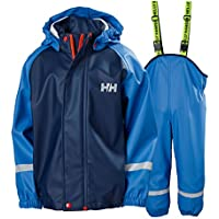2018 Helly Hansen Junior Bergen PU Jacket & Trouser Rain Set Blue Water 40360