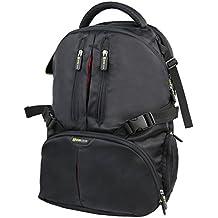 Evecase - Mochila de nylon con cubierta de lluvia para cámaras DSLR y laptops, negra