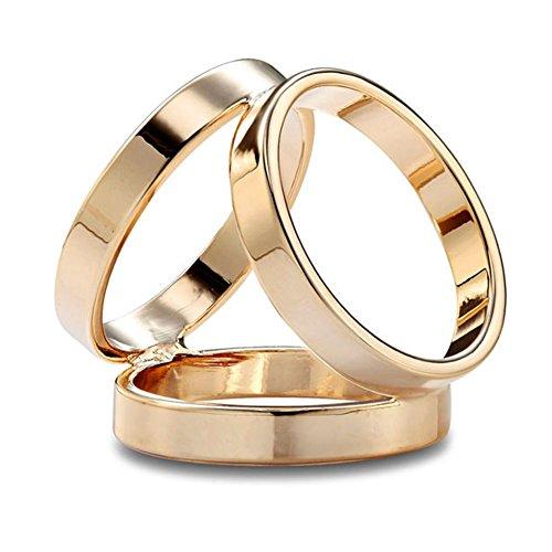 S&E Frauen elegante Drei Ring Gold überzogen Schals Clip Modische Schals Ring Shiny Zubehör (Gelb, Metalllegierung)