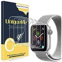 UniqueMe [6 Pack] Protector de Pantalla para Apple Watch 42mm Series 1/2/3, [Caso amistoso] [Película Flexible] Soft HD Clear Anti-Scratch con