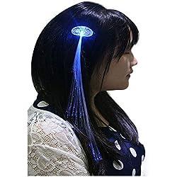 Ultra Pack de 5 luz para arriba clip de pelo óptico de fibra en azul LED extensiones de pelo conjuntos de fibra LED extensiones de cabello luz hasta pelo batería extensiones Powered para mujeres niñas fibra óptica perfecta para fiestas favorece bolsas de regalo