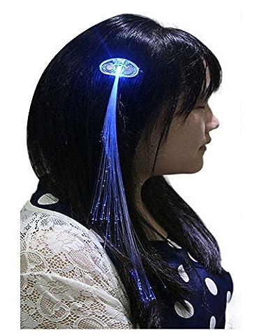 Ultra Pack de 5 Light Up Fibre optique Clip pince à cheveux en lumière LED bleue cheveux Extensions ensembles de fibre de LED cheveux Extensions extensions cheveux batterie alimenté pour femmes filles optique Fibre parfaite pour Parties faveurs Gift Bags
