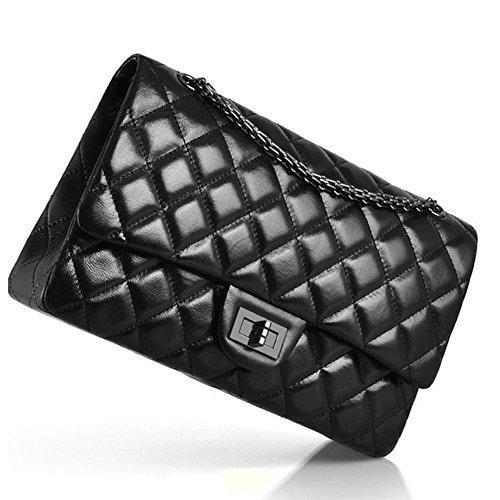 Macton 2.55 Lingge Schaffell Frau Damenhandtaschen MC-1320 (Large Size 30CM, Black) (Logo Handtaschen Gucci)