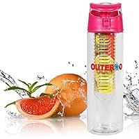 OUTERDO 800ml frutta di plastica Sport Bottiglia trasparenza infusore con