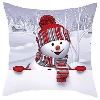 LUNULE Navidad Funda de Almohada de Sofá Navideño Funda de Cojín 3D Snowman Funda de Almohada Decorativa Feliz Navidad Throw Pillow Case Funda de Almohada para Cojín 45×45 cm
