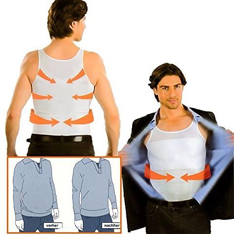 Formfit Bauchweg-Unterhemd für Herren, 2er-Set - Schlankheits - Shirt, Figurformend, Nahtlos, Weiß (L)