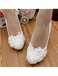 JINGXINSTORE Las mujeres hechas a mano de la perla del cordón blanco boda nupcial calzan los tacones altos, UK5