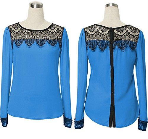 Bigood Femme Chemise Dentelle Chiffon Tops Manches Longue T-shirt Moulante Bleu